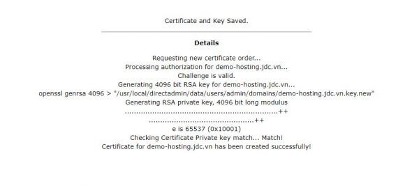 Đăng ký thành công chứng chỉ Let's Encrypt