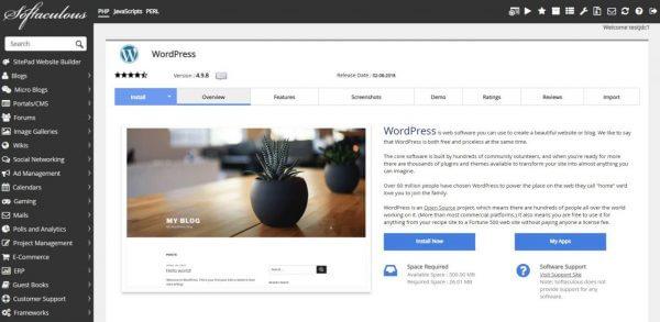 Giao diện cài đặt WordPress trên Softaculous