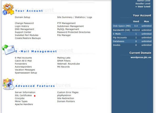 Chọn SSL Certificates