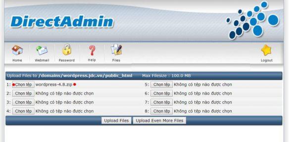 Form upload file của DirectAdmin