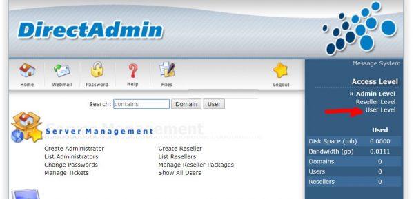 Chọn chế độ quản lý trên DirectAdmin