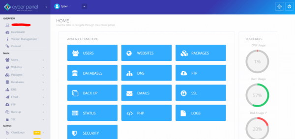 giao diện quản trị máy chủ hosting của cyberpanel