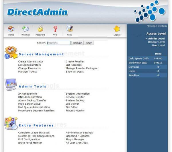Giao diện DirectAdmin