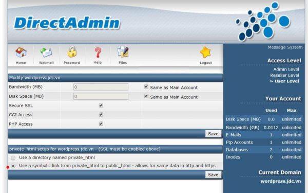 lựa chọn thư mục root cho SSL