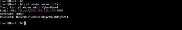 Thông tin tài khoản admin trên Cyberpanel