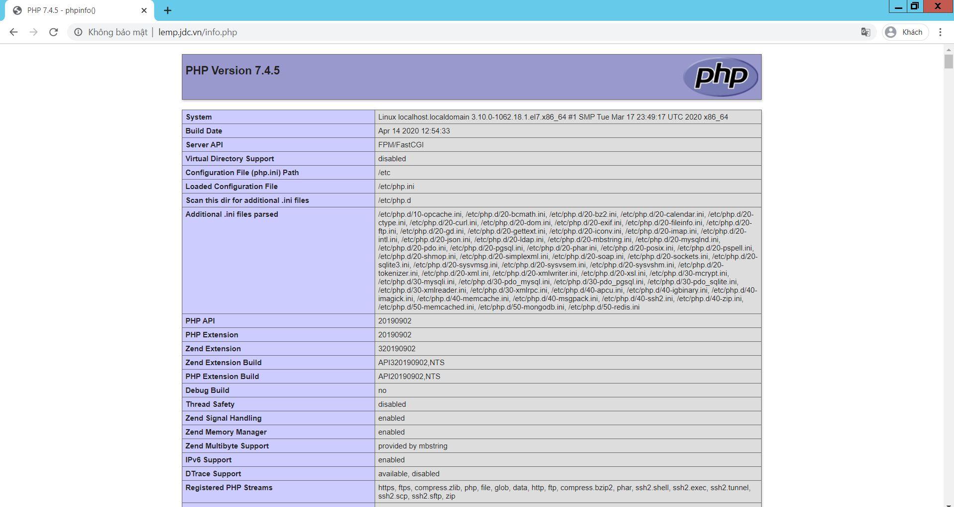 Cài đặt LEMP - Nginx 1.62 php-fpm74 MariaDB 10.4