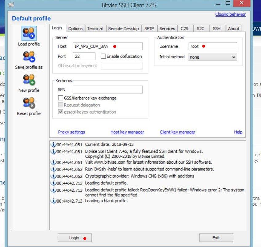 Đăng nhập VPS bằng Bitvise